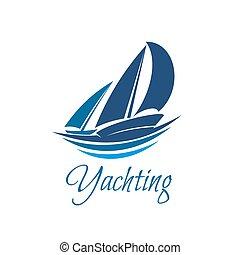 segling, klubba, yacht, vektor, sport, ikon