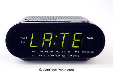 sent, radio, ord, klocka