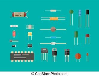 set., komponenten, elektronisk ledningsnät