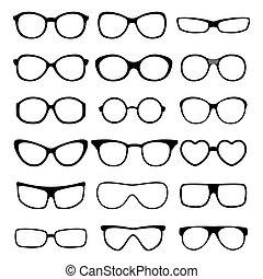 set., vektor, glasögon