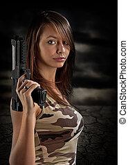 sexig, kvinna, gevär, holdingen