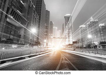 shanghai, natt, finans, nymodig, bakgrund, zon, stad, handel, lujiazui, &