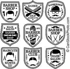 shoppar, barberare, sätta, etc., vektor, etiketter