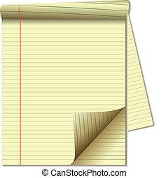 sida, papper, laglig, hörna, gul vaddera