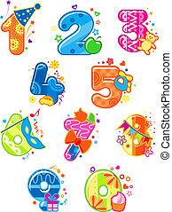 siffror, tecknad film, numrerar, toys