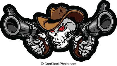 sikta, vapen, kranium, cowboy