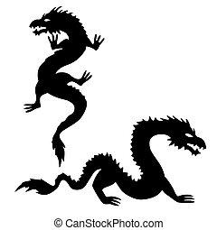 silhouettes, 2, sätta, två, drake