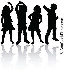 silhouettes, barn, dansande