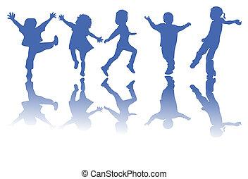 silhouettes, barn, lycklig