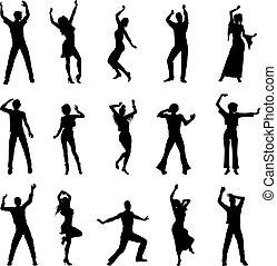 silhouettes, dansande, folk