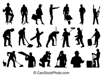silhouettes, folk., vektor, illustration, arbete