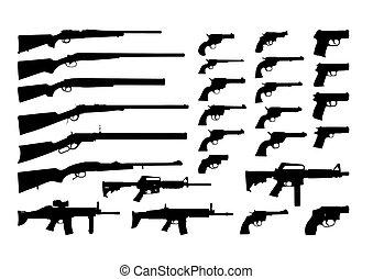 silhouettes, gevär, vektor