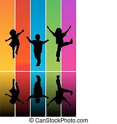 silhouettes, hoppning, barn