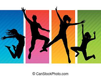 silhouettes, hoppning, folk