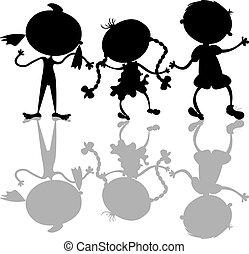 silhouettes, lurar, svart