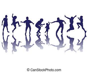 silhouettes, lycklig, barn