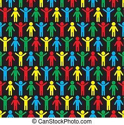 silhouettes, pattern., seamless, mänsklig