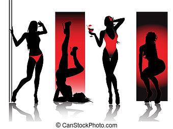 silhouettes, röd, sexig