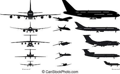 silhouettes, sätta, airplanes