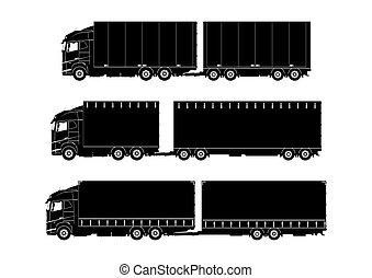 silhouettes, sätta, nymodig, lastbil
