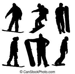 silhouettes, sätta, snowboard