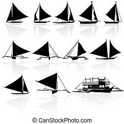 silhouettes, sätta, yachter