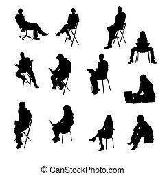 silhouettes, sittande, affärsfolk