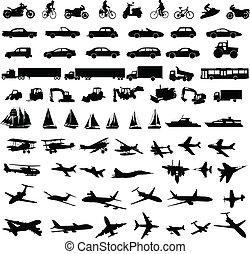 silhouettes, transport