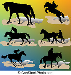 silhouettes-vector, häst