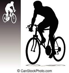 silhouettes, vektor, cykling, man