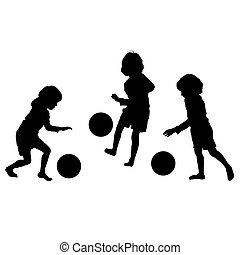 silhouettes, vektor, fotboll, barn