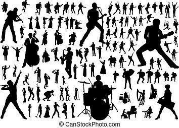 silhouettes, vektor, musik