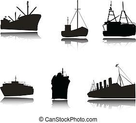 silhouettes, vektor, sänder