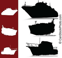 silhouettes, vektor, yacht, båt