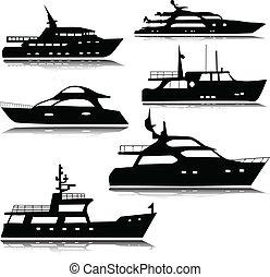 silhouettes, vektor, yachter