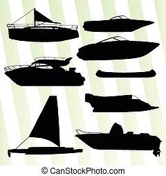 silhouettes, vektor, yachter, skryt