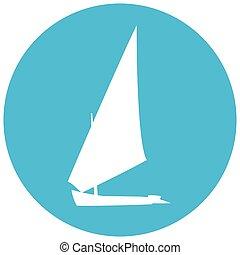 silhuett, båt, logotype., yacht, blå, cirkel, illustration, bakgrund.