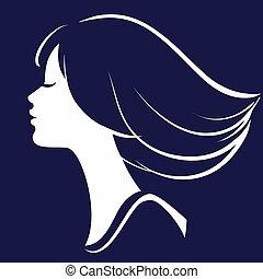 silhuett, flicka, illustration, ansikte, vektor, vacker