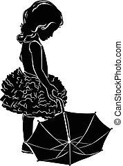 silhuett, flicka, paraply
