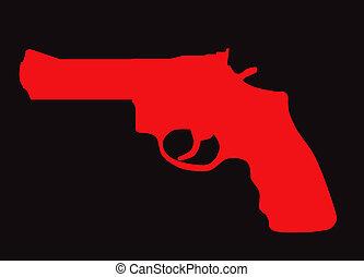 silhuett, gevär, hand