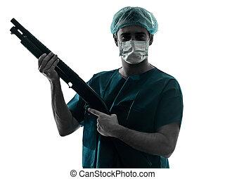silhuett, läkare, hagelgevär, maskera, ansikte, holdingen, kirurg, man
