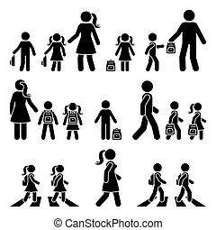 silhuett, lurar, pojke, skola, gå, ikon, figur, pictogram., övergångsställe, ryggsäck, flicka, vektor, käpp, vandrande, föräldrar