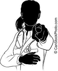 silhuett, nödvändigtvis, pekande, dig, läkare, kvinna