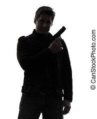 silhuett, polisman, mördare, gevär, holdingen, stående, man