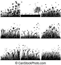 silhuett, sätta, gräs