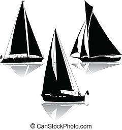 silhuett, tre, segla, yachter