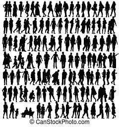 silhuett, vektor, svart, folk