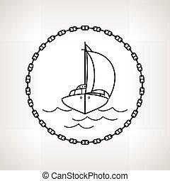 silhuett, yacht