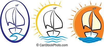 silhuett, -, yacht, hav