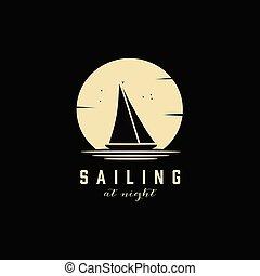 silhuett, yacht, inspiration, logo, enkel, design, segla